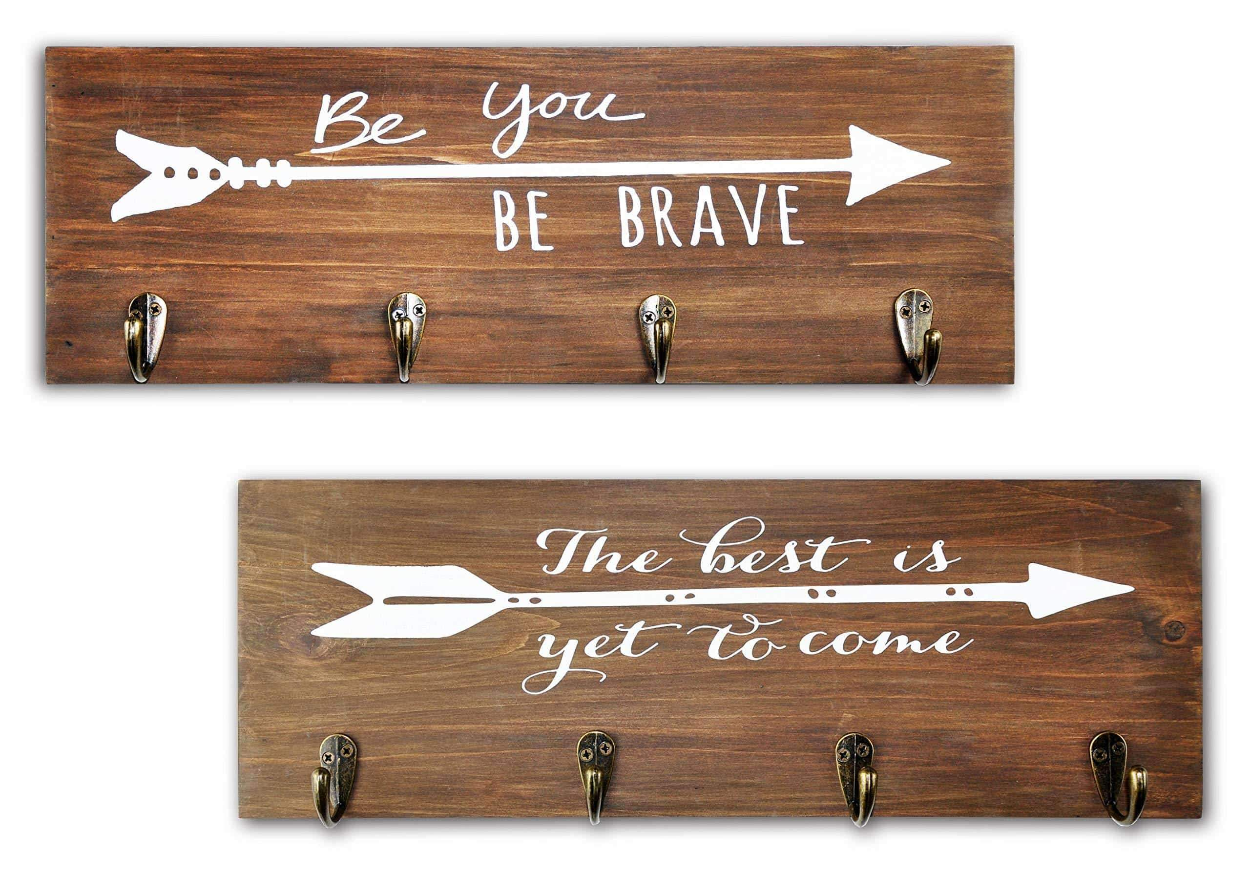 Spiretro Set of 2 Wall Mount Wood Plaque, Metal Key Hook Rack, Printed Arrow Sign and Inspirational Words, Coat Hat Bag Hang Organizer, Leash holder, 16.5 inch for Entryway Kids Room Hallway Closet, Rustic Teak Brown