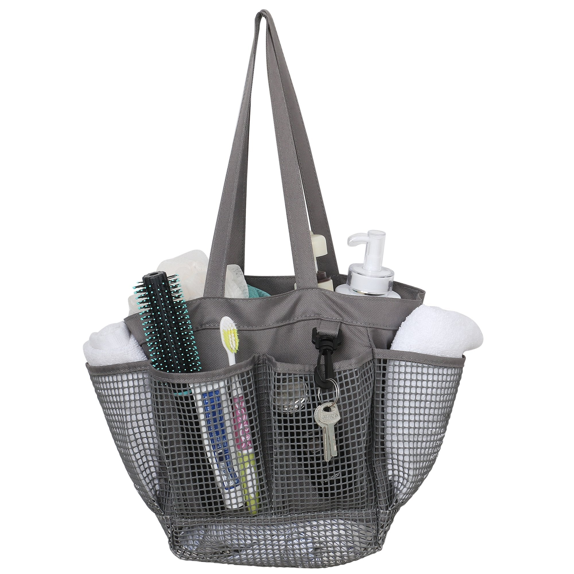 Utopia Alley Mesh Portable Shower Caddy, Quick Dry Shower Tote Bag, Bathroom Organizer Bag, Gray/Blue Color. Perfect For Dorm, Gym, Bath with Handles.