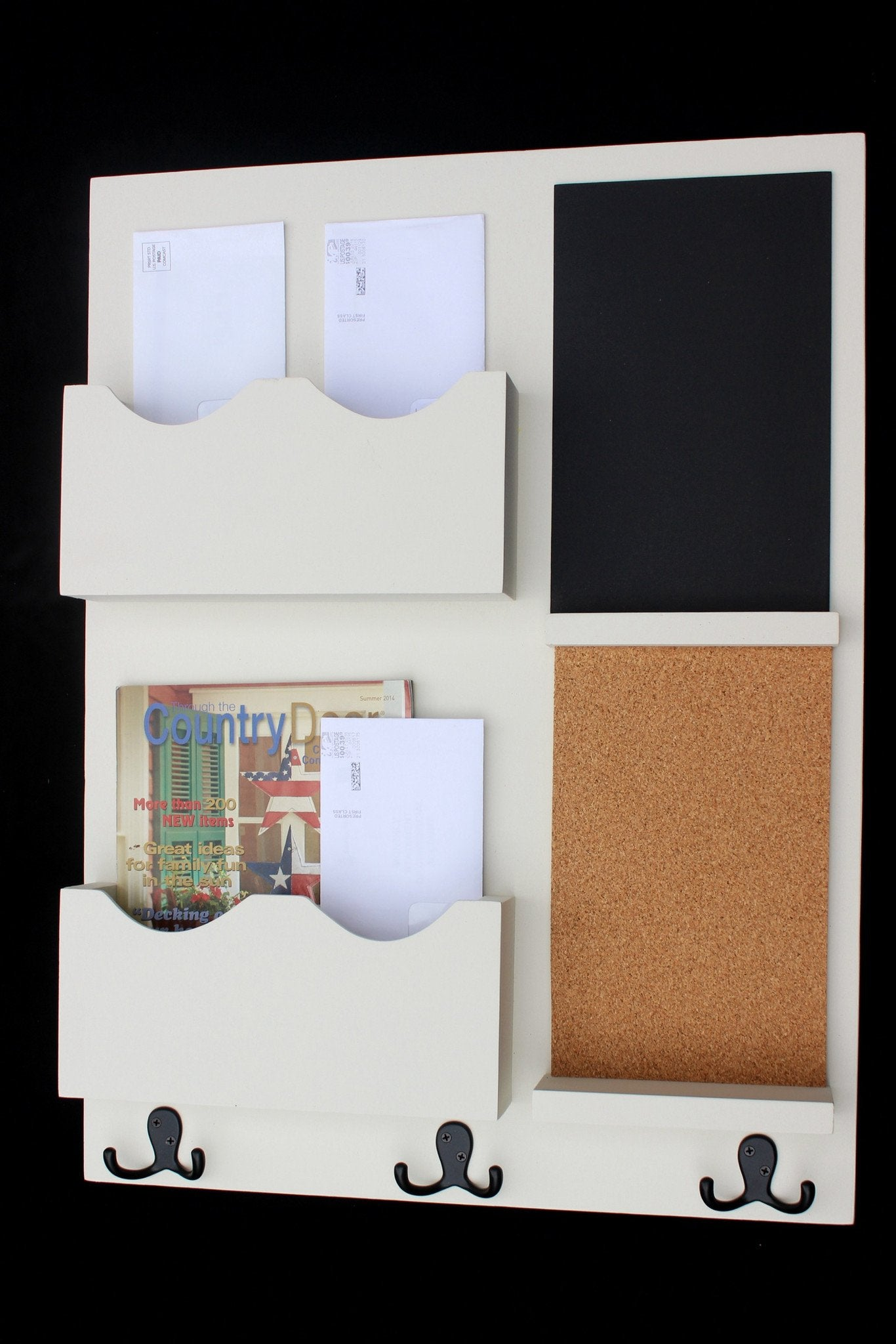 Mail Organizer - Cork Board - White Board - Key Hooks