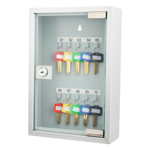 10 Keys Lock Box Gray W- Glass Door