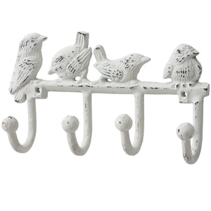 Antique White Cast Iron Birds Key Hooks
