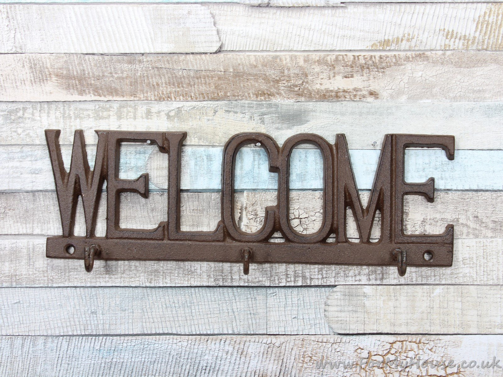 Rustic metal Welcome key rack