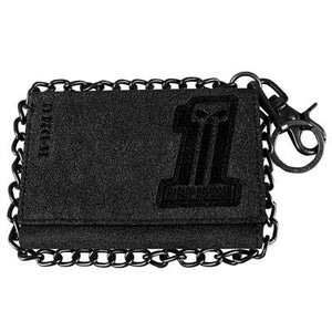Men's #1 Skull Burnished Garage Leather Trifold w/ Chain Wallet