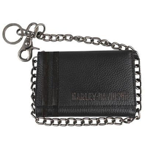Men's Punk Classic Black Leather Trifold w/ Chain