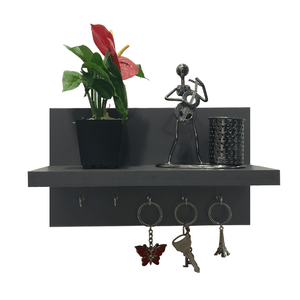 Omega 6 Wooden Key Holder with Wall Decor Shelf, 5 Key Hooks - Slate Grey