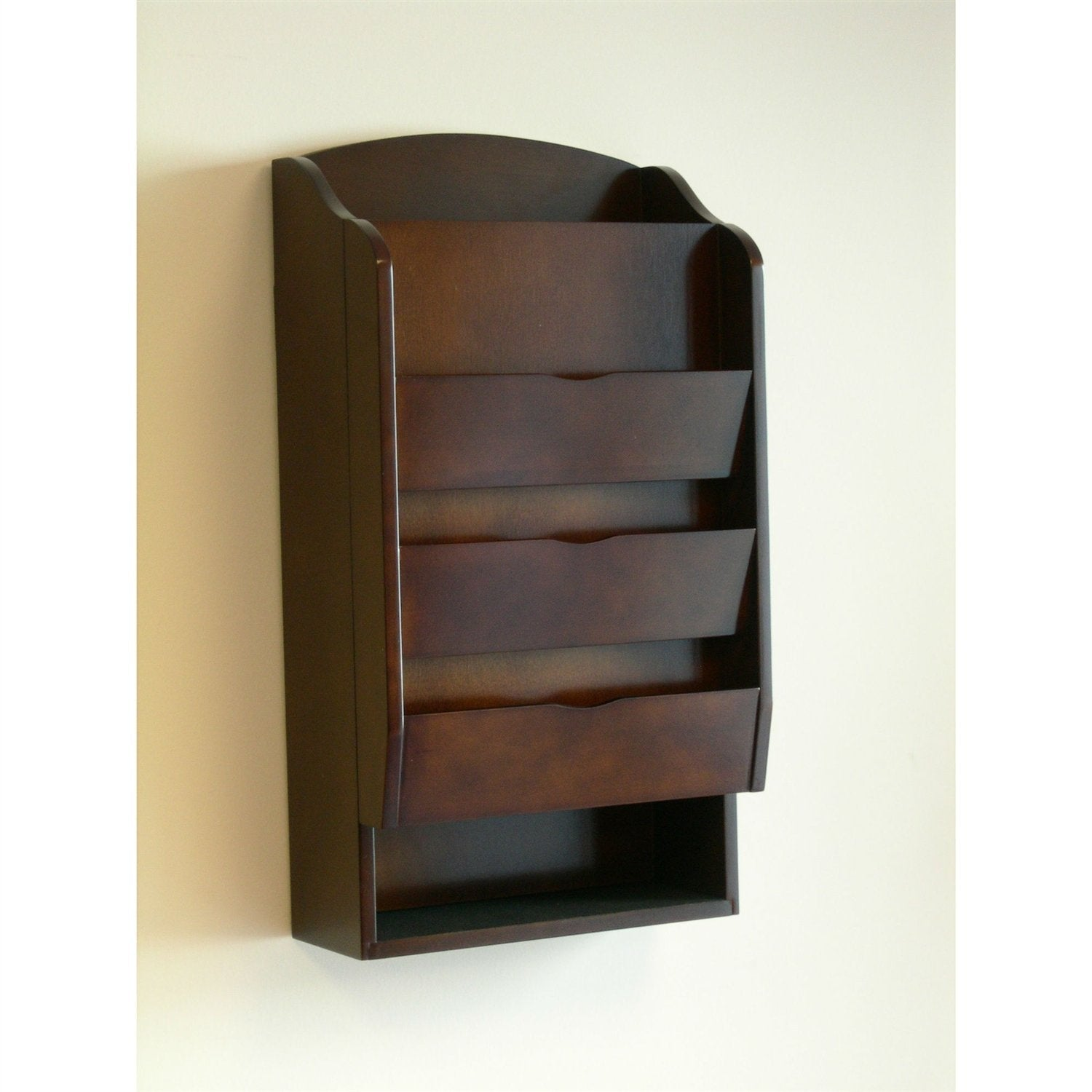 Door / Wall Mount Organizer Letter Holder Mail Sorter in Dark Walnut