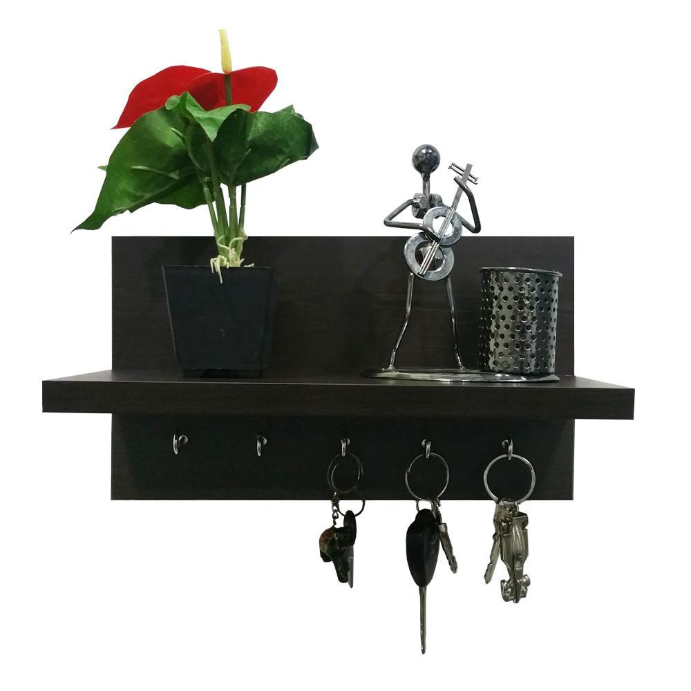 Omega 6 Wall Mounted Decor Shelf with Key Hooks- Wenge Finish