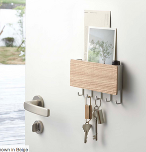 Rin Magnetic Key Rack With Tray, White Wood