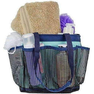Fancii Portable Shower Caddy Tote With 7 Mesh Storage Pockets And Key Hook - Quick Dry Hanging Bath & Toiletry Organizer Bag For College Dorm, Travel, Gym And Camping