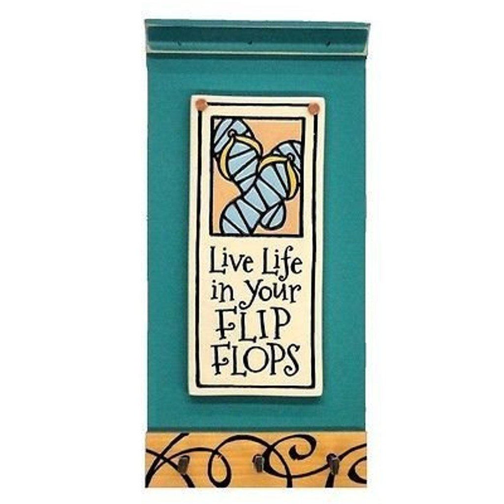 Live Life in Your Flip Flops, Etched Clay on Pine Triple Key Hook