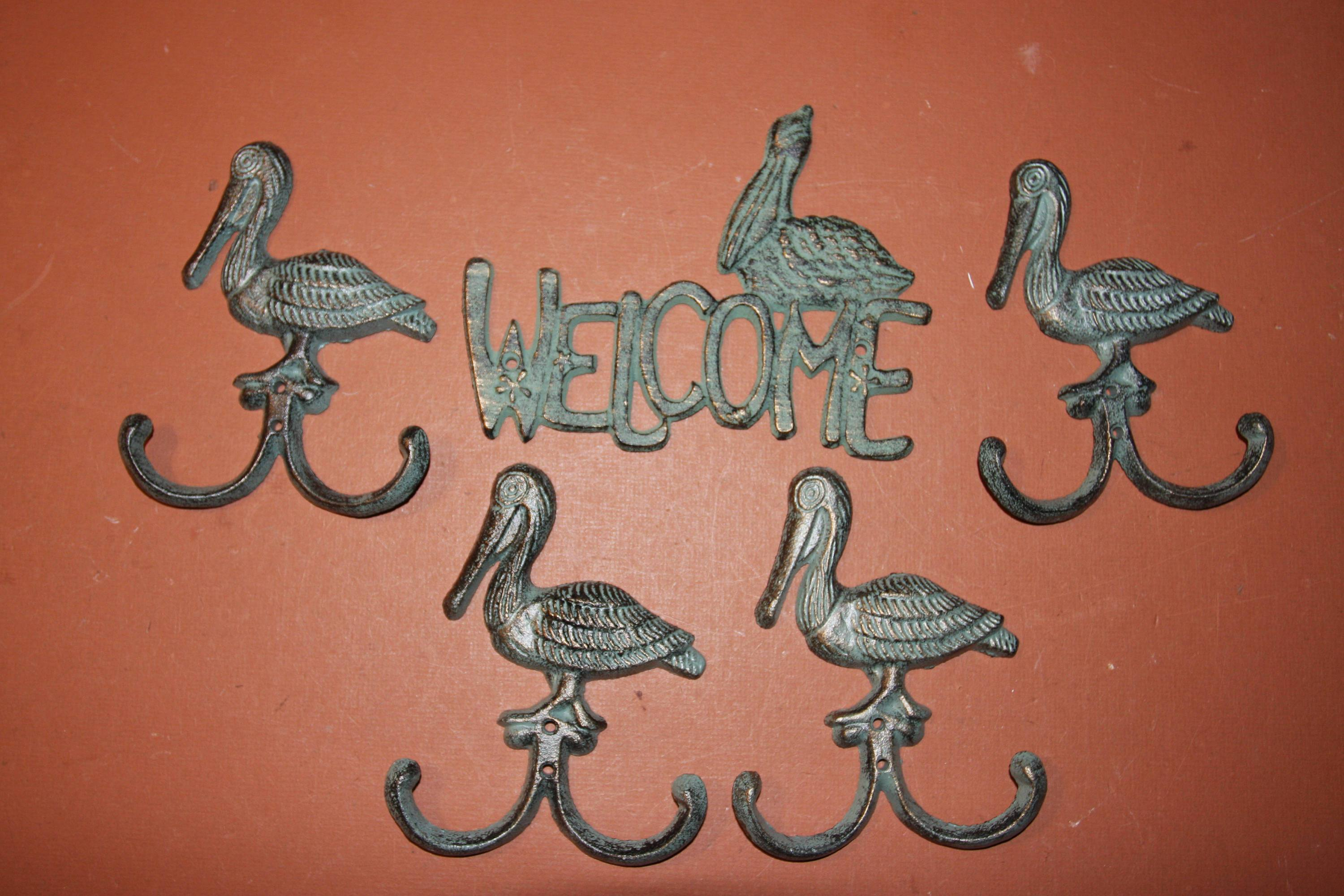 Beach House Welcome Plaque Pelican Design, Cast Iron, Key Hooks -