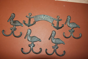 Antique Look Nautical Welcome Decor, Cast Iron Anchor Welcome Sign -