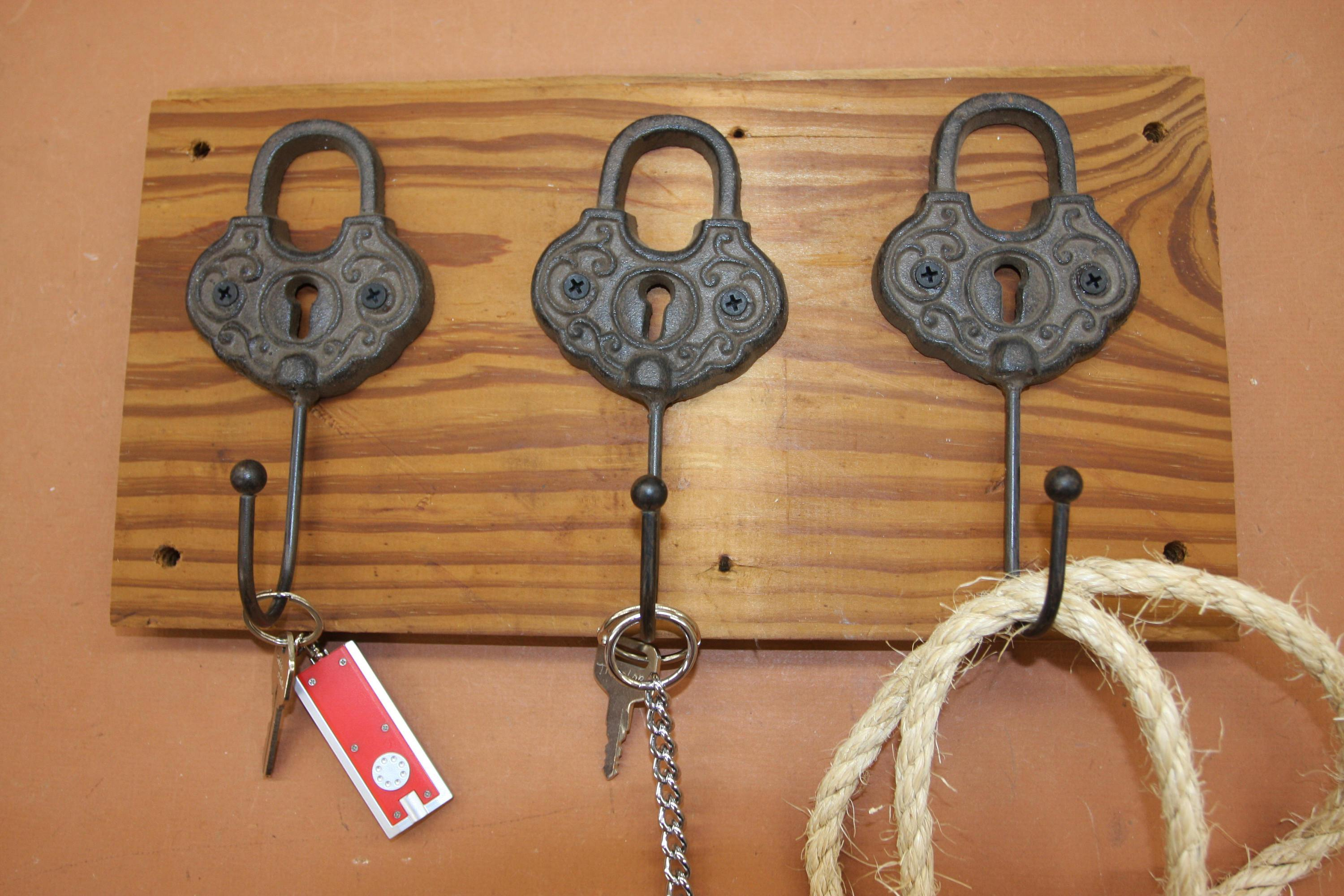 Old Fashion Padlock Design Key Hooks Rack, Handmade in USA, Cast Iron, Reclaimed 100 Year Old Wood, The Country Hookers, CH-13