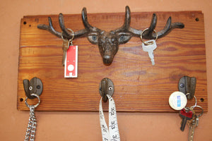 Rustic Wall Mounted Antler Key Hook Rack Set, Handmade in USA, Reclaimed 100 Year Old Wood, The Country Hookers, CH-17