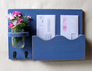 Mail Holder - Double Slots - Key Hooks - Mason Jar