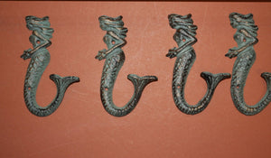 4) pcs,  Bronze look mermaid bath hooks, free shipping, cast iron mermaid bath decor,mermaid jewelry hook, mermaid key hook,BL-42