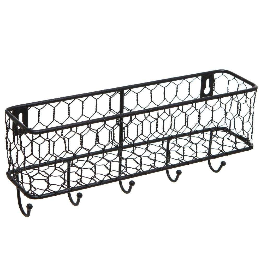 Black Metal Wall Mounted Key and Mail Storage Rack w/ Chicken Wire Mesh Basket