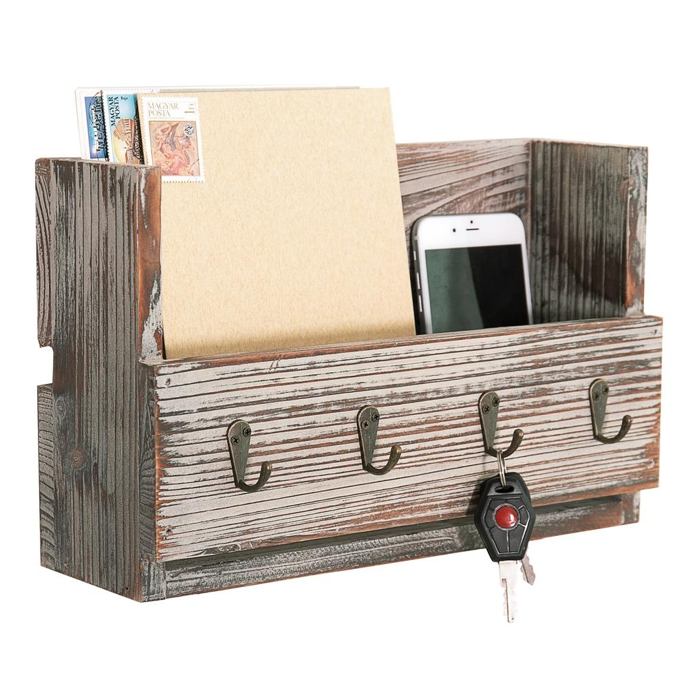 Rustic Torched Wood Wall Mounted Mail Organizer with 4 Key Hooks