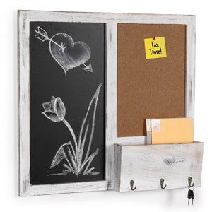 Wall Mounted Chalkboard & Cork Board Rack with Mail Sorter & Key Hooks