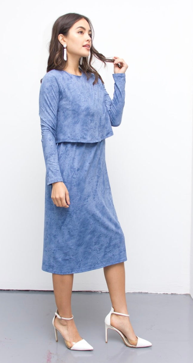 Suede dress (Baby Blue)