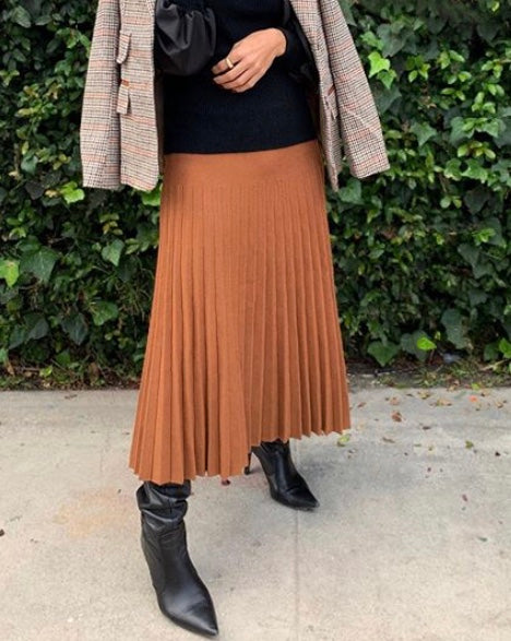 MM pleated skirt (Camel)