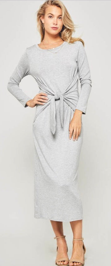 Waist Tie Midi Dress (Grey)