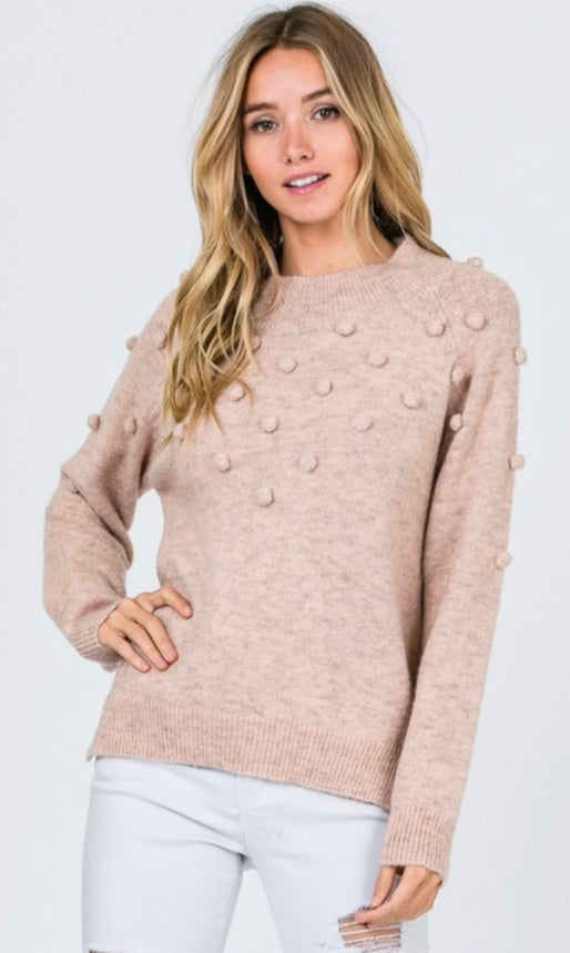 Knit Sweater-Pom Pom Detail