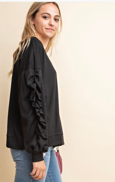Ruffle Sleeve Knit Top