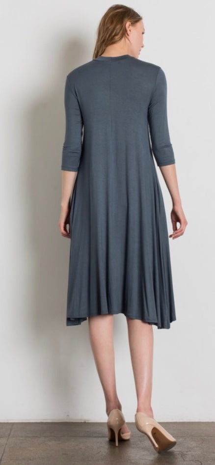 Mock Neck 3/4 Sleeve Midi Dress