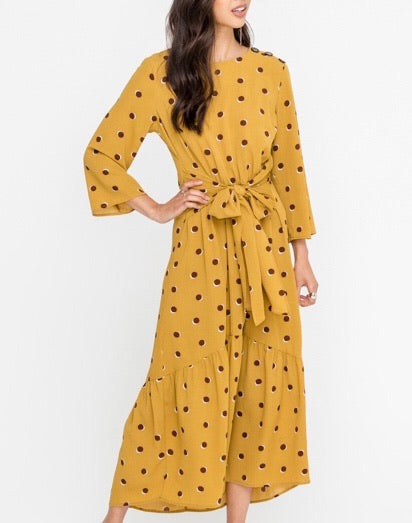 Midi Dress with Sash Tie at the Waist (Mustard)