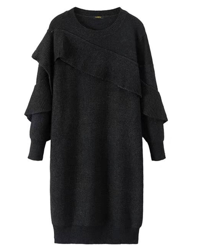 Cozy Knit Ruffle Dress