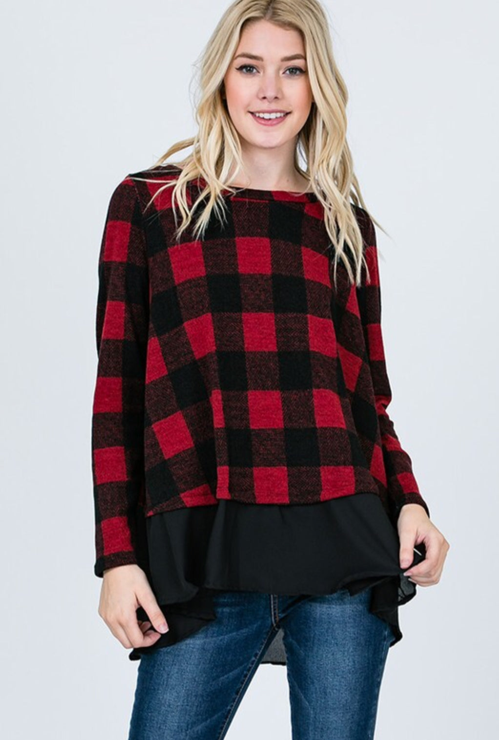 Long Sleeve Checkered Top with Ruffle Detail