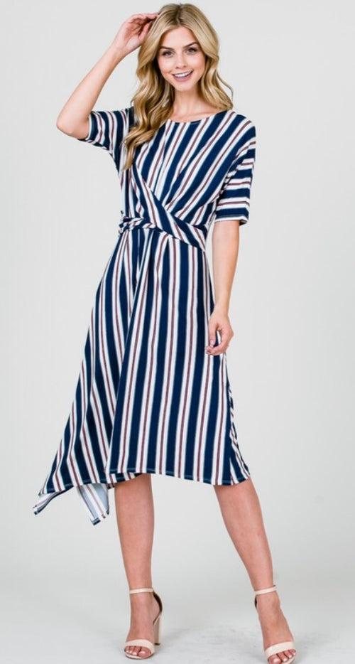 Drape Front Stripe Dress