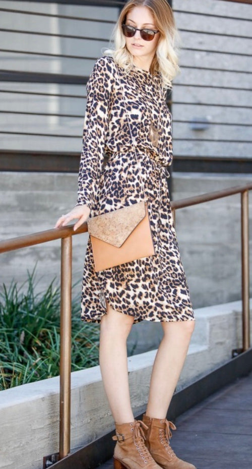 Leopard Print Dress with Waist Tie