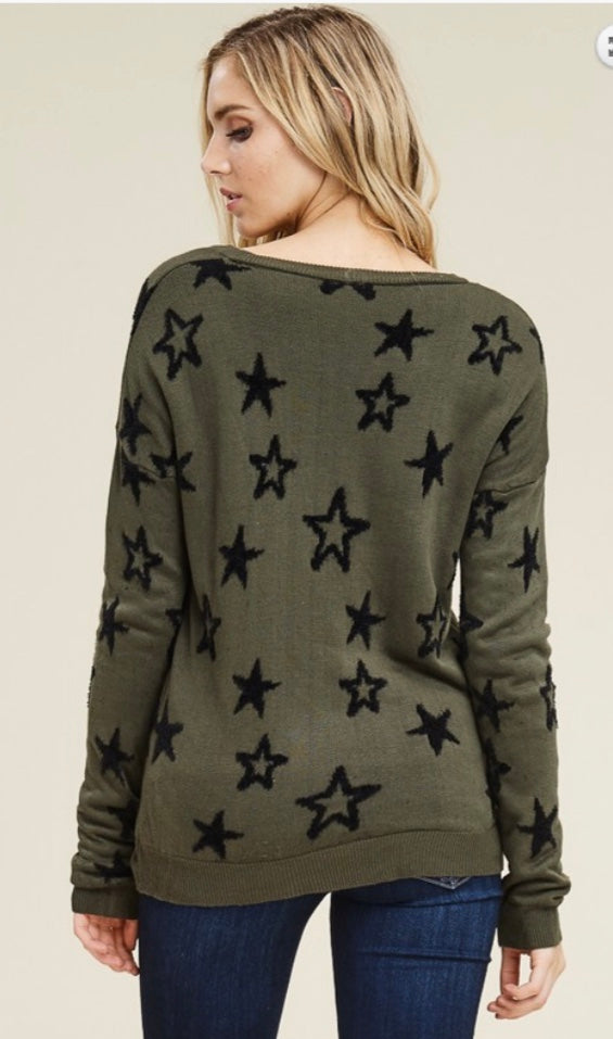 Olive and Black Star Top
