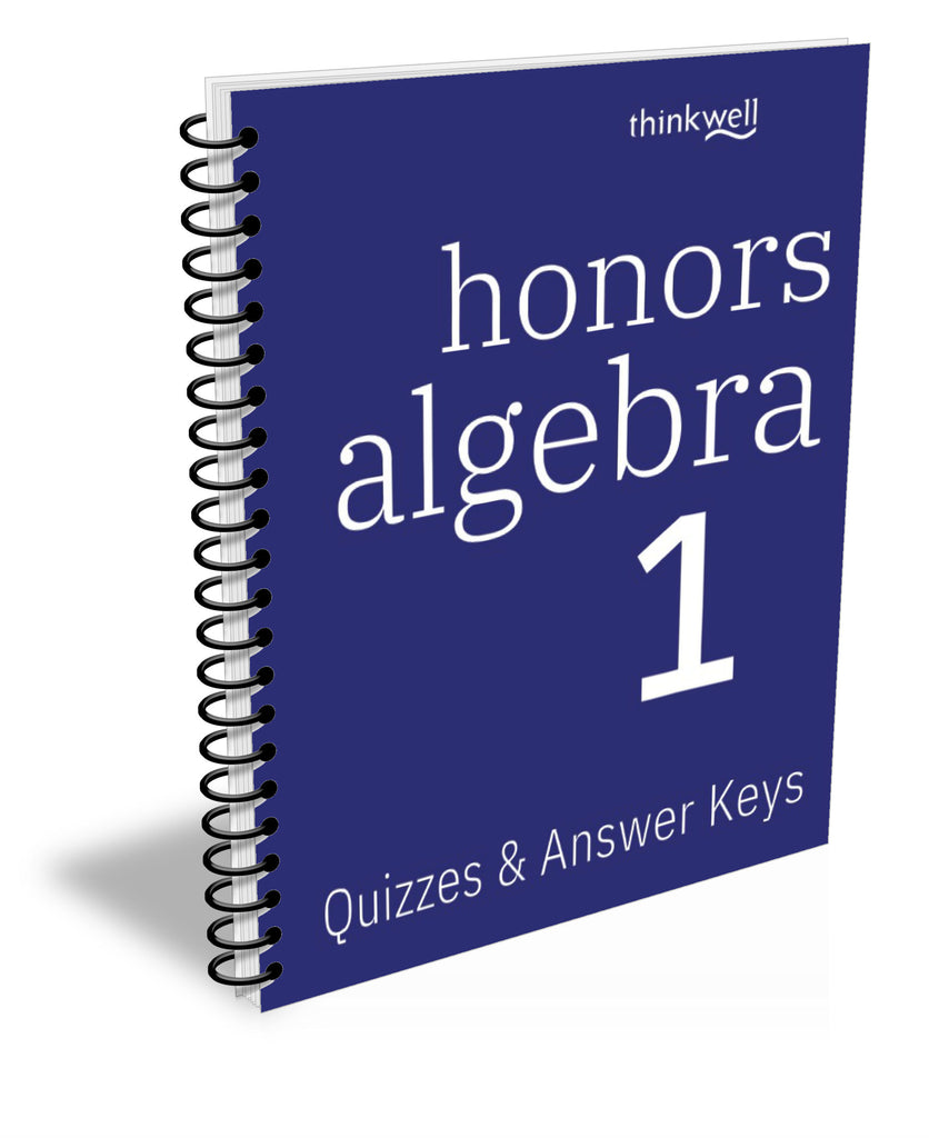 Honors Algebra 1 Quizzes and Answer Keys