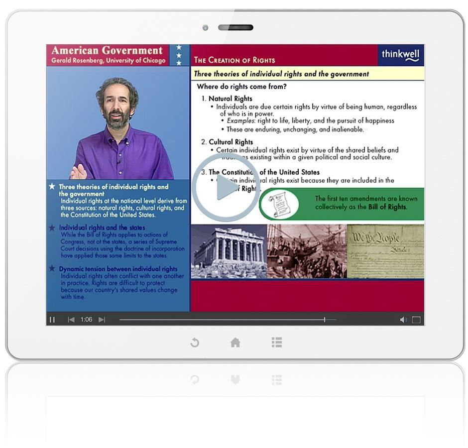 Thinkwell's AP American Government with Professors Gerald Rosenberg, Matthew Dickinson, and Mark Rom Video Screenshot
