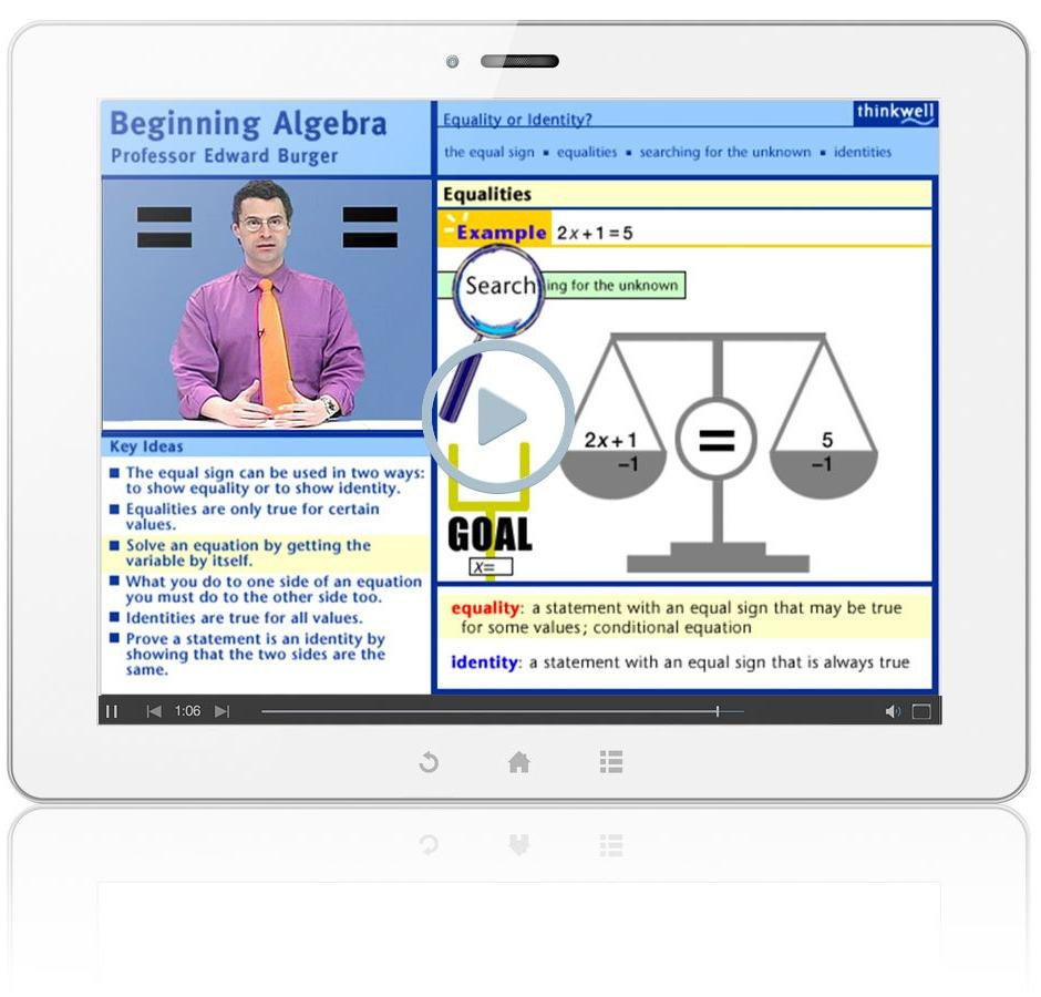 Thinkwell's Beginning Algebra with Professor Edward Burger Sample Video