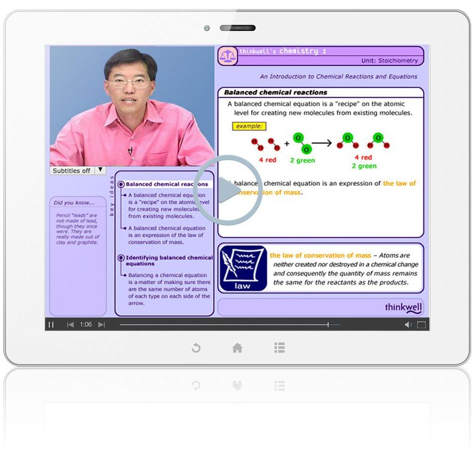 Thinkwell's Chemistry with Professors Gordon Yee and Dean Harman Sample Video Lesson