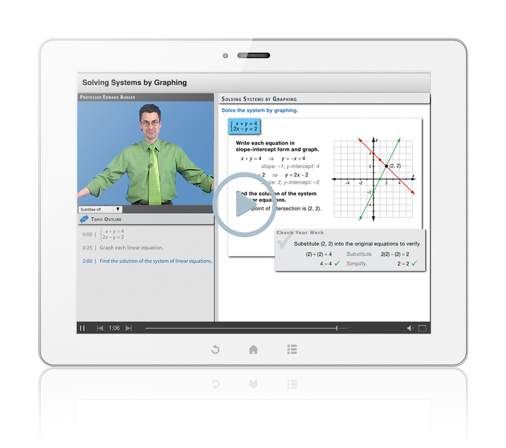 Sample of Thinkwell's College Algebra Math videos