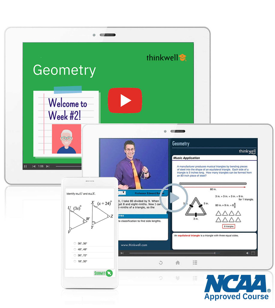 Thinkwell's Instructor-led Geometry 2 NCAA approved