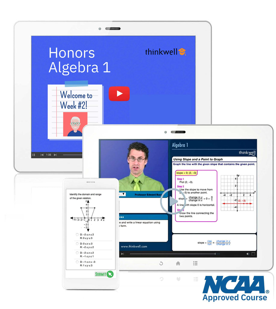 Thinkwell's Instructor-led Honors Algebra 1 NCAA approved