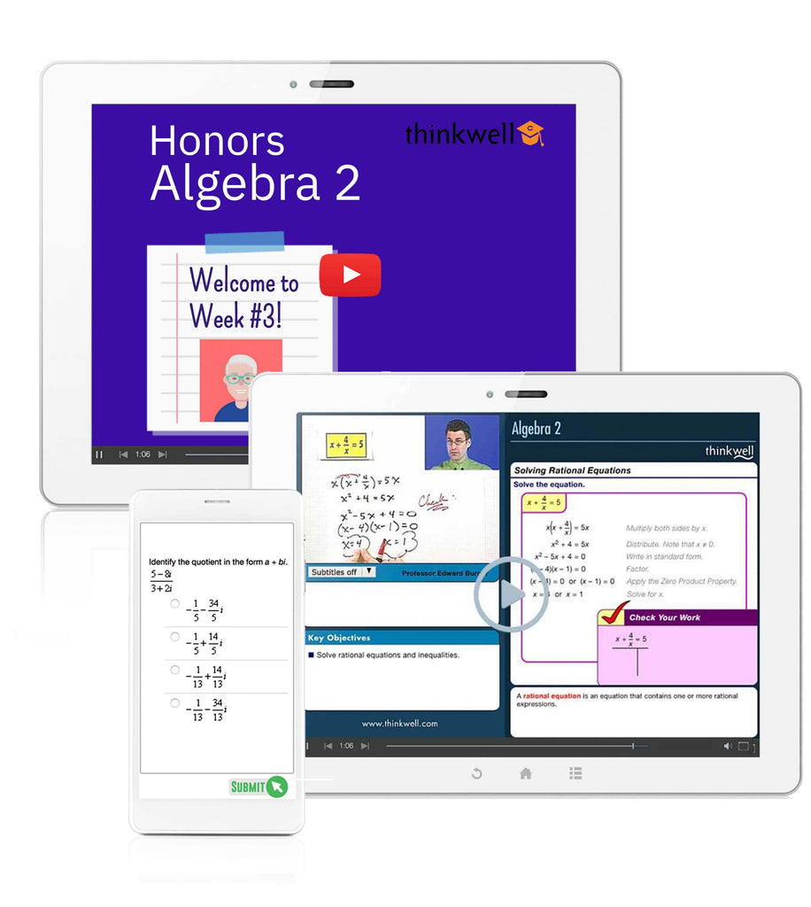 Honors Algebra 2 Online Course with Instructor, Semester 2 - Registration
