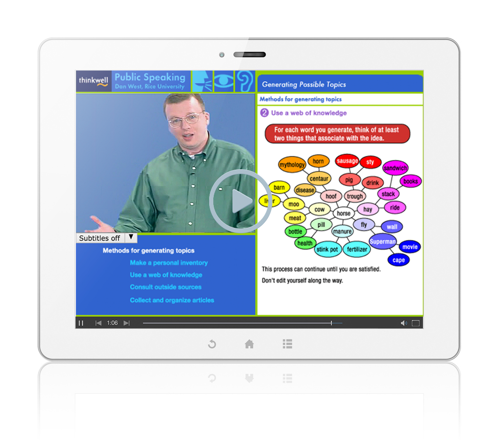 Sample of Thinkwell's Public Speaking videos