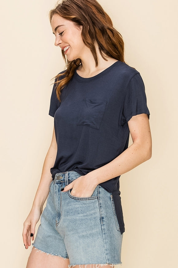 Short Sleeve High Low Hem Top