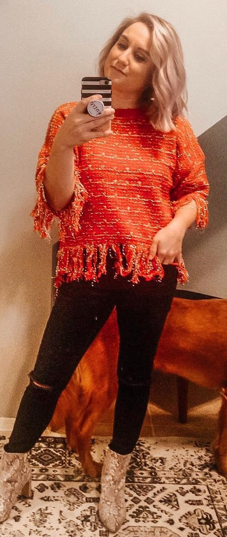 Red Fringe Sweater
