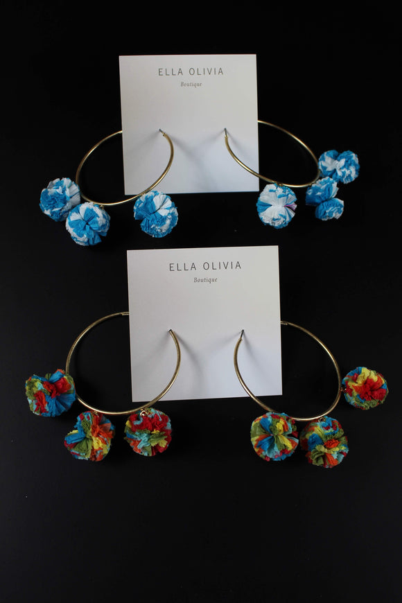 Raffia Ball Dangle Circle Earrings