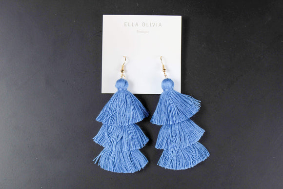 Baby Blue Layer Tassel Earrings