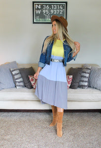 Colorblock Tiered High-Low Maxi Dress