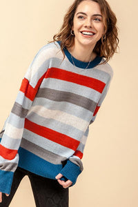 Striped Crew Neck Long Sleeve Sweater with Side Slits